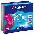 Verbatim CD-R 700mb, 52x, Slim (10) Color (10/100/6000)